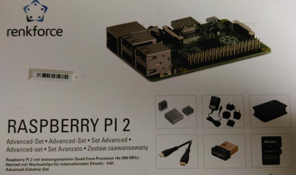 Das ist mein Raspberry PI 2 B - gekauft im Conrad fuer viel zuviel Geld :(
